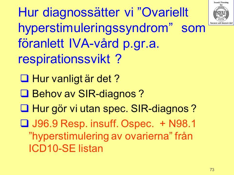 """73 Hur diagnossätter vi """"Ovariellt hyperstimuleringssyndrom"""" som föranlett IVA-vård p.gr.a. respirationssvikt ?  Hur vanligt är det ?  Behov av SIR-"""