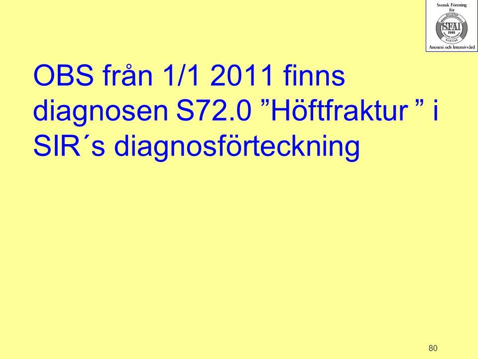 """80 OBS från 1/1 2011 finns diagnosen S72.0 """"Höftfraktur """" i SIR´s diagnosförteckning"""