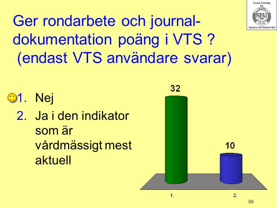 99 Ger rondarbete och journal- dokumentation poäng i VTS ? (endast VTS användare svarar) 1.Nej 2.Ja i den indikator som är vårdmässigt mest aktuell
