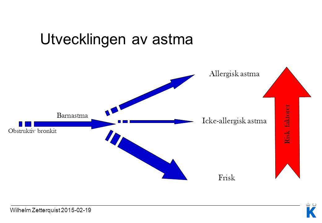 Utvecklingen av astma Obstruktiv bronkit Barnastma Allergisk astma Icke-allergisk astma Frisk Risk faktorer Wilhelm Zetterquist 2015-02-19