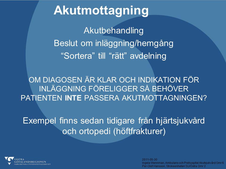 2011-05-30 Ingela Wennman, Ambulans och Prehospital Akutsjukvård Omr 6 Per-Olof Hansson, Strokeenheten SU/Östra Omr 2 Akutbehandling Beslut om inläggn