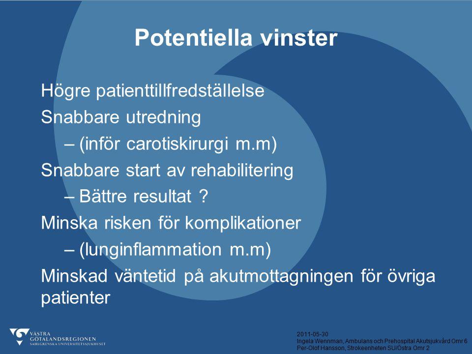 2011-05-30 Ingela Wennman, Ambulans och Prehospital Akutsjukvård Omr 6 Per-Olof Hansson, Strokeenheten SU/Östra Omr 2 Potentiella vinster Högre patien