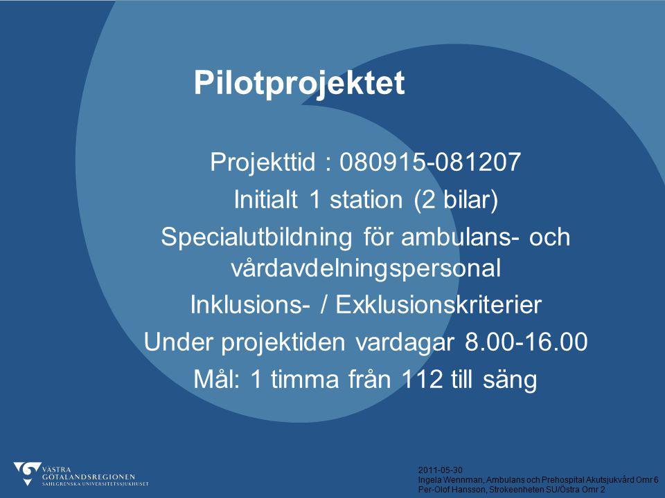2011-05-30 Ingela Wennman, Ambulans och Prehospital Akutsjukvård Omr 6 Per-Olof Hansson, Strokeenheten SU/Östra Omr 2 Pilotprojektet Projekttid : 0809