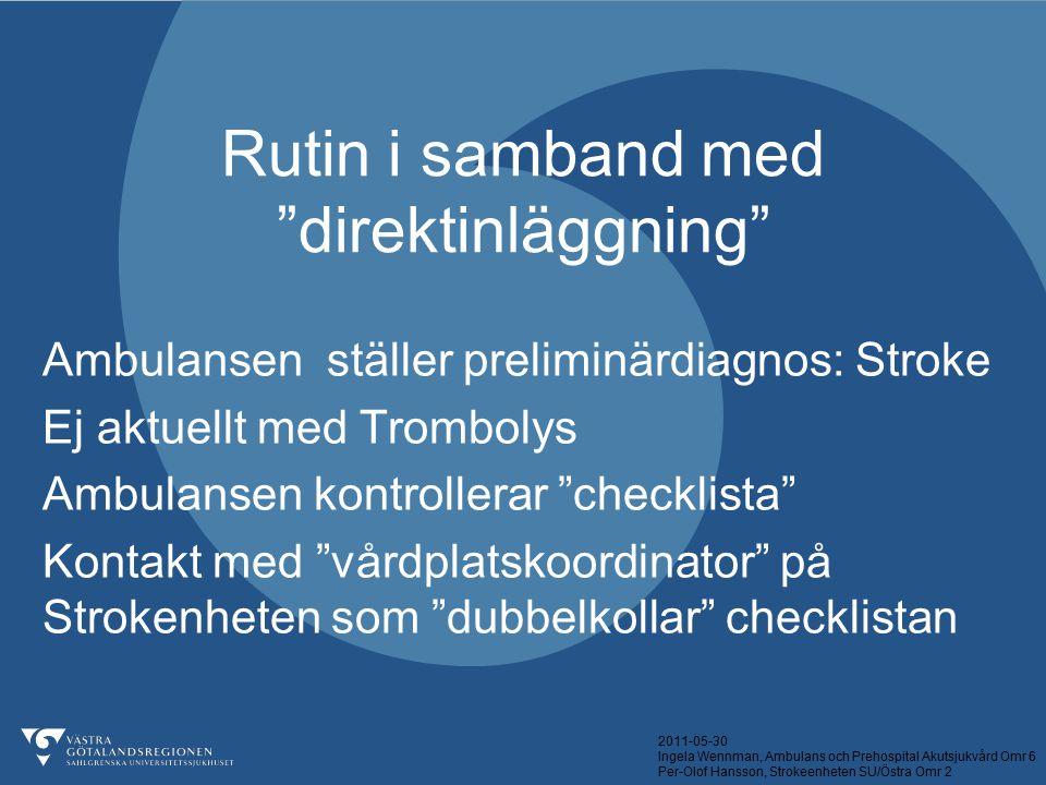 """2011-05-30 Ingela Wennman, Ambulans och Prehospital Akutsjukvård Omr 6 Per-Olof Hansson, Strokeenheten SU/Östra Omr 2 Rutin i samband med """"direktinläg"""