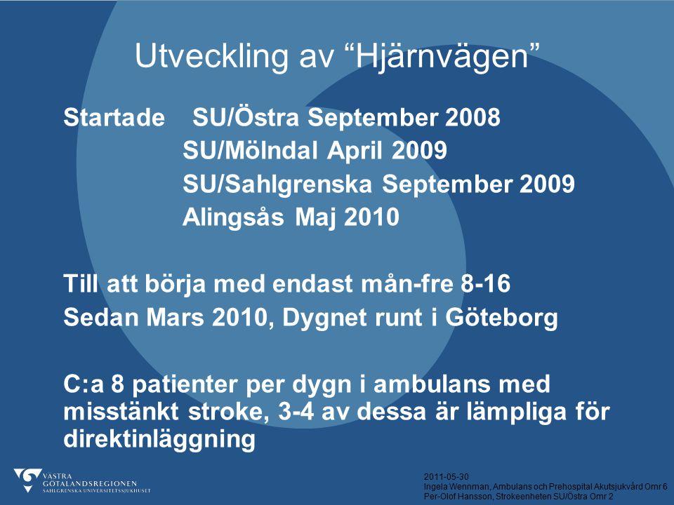 """2011-05-30 Ingela Wennman, Ambulans och Prehospital Akutsjukvård Omr 6 Per-Olof Hansson, Strokeenheten SU/Östra Omr 2 Utveckling av """"Hjärnvägen"""" Start"""