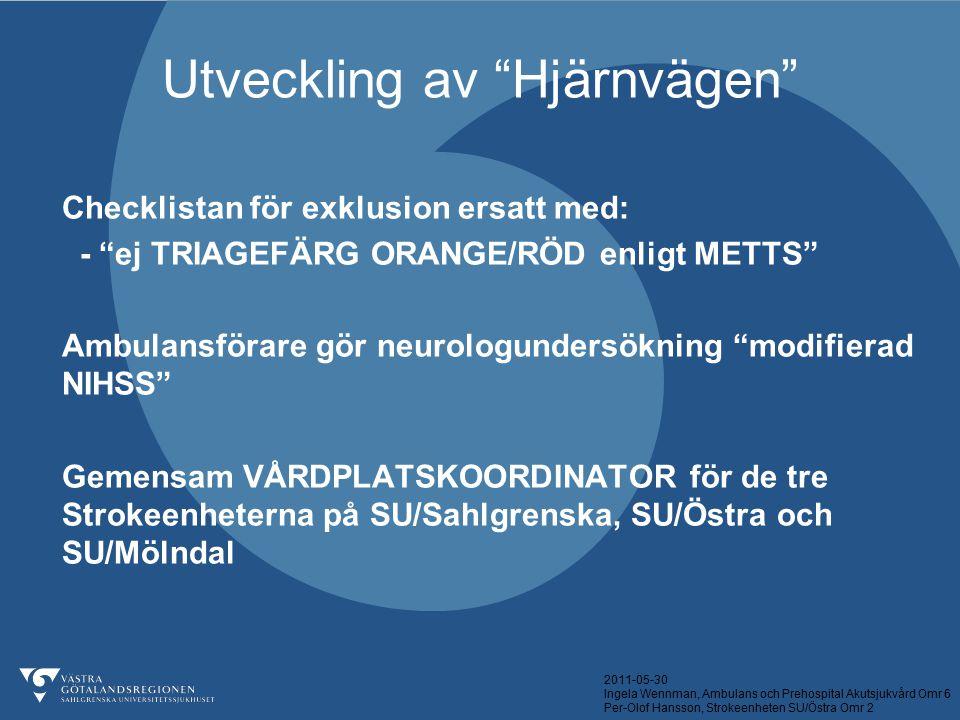 """2011-05-30 Ingela Wennman, Ambulans och Prehospital Akutsjukvård Omr 6 Per-Olof Hansson, Strokeenheten SU/Östra Omr 2 Utveckling av """"Hjärnvägen"""" Check"""