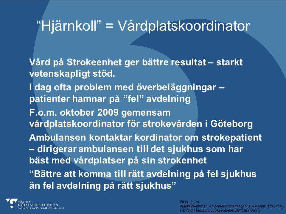 """2011-05-30 Ingela Wennman, Ambulans och Prehospital Akutsjukvård Omr 6 Per-Olof Hansson, Strokeenheten SU/Östra Omr 2 """"Hjärnkoll"""" = Vårdplatskoordinat"""