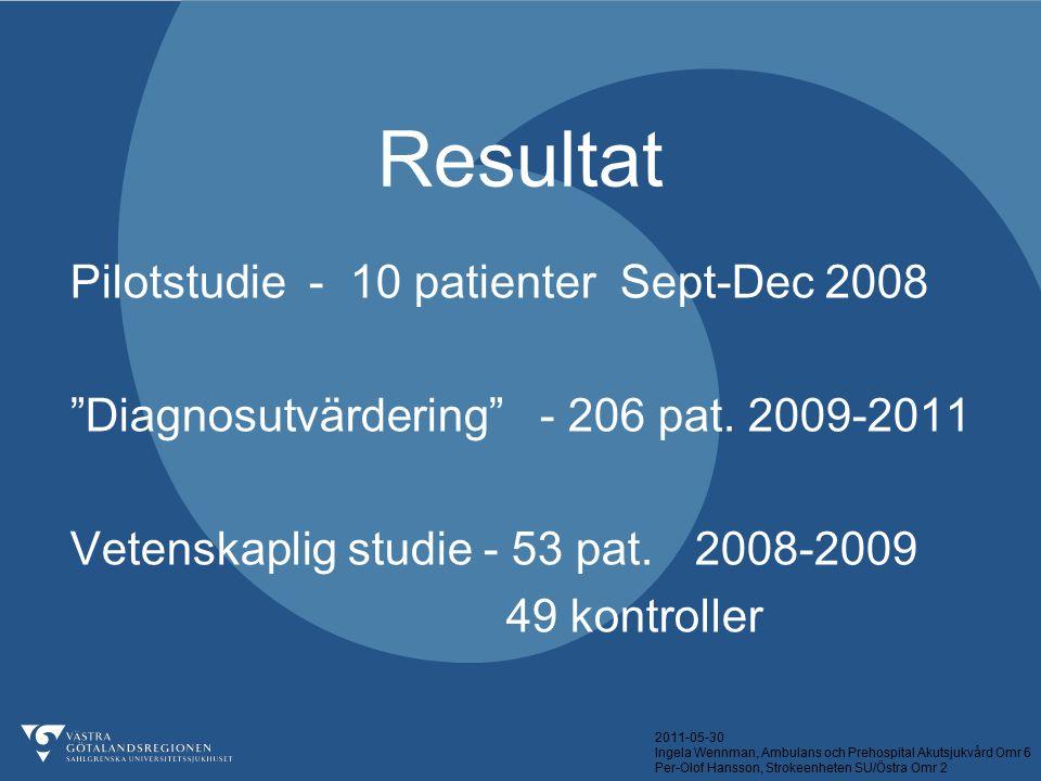 2011-05-30 Ingela Wennman, Ambulans och Prehospital Akutsjukvård Omr 6 Per-Olof Hansson, Strokeenheten SU/Östra Omr 2 Resultat Pilotstudie - 10 patien