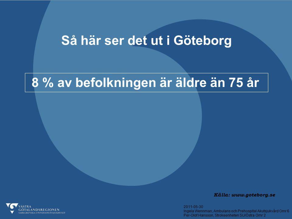2011-05-30 Ingela Wennman, Ambulans och Prehospital Akutsjukvård Omr 6 Per-Olof Hansson, Strokeenheten SU/Östra Omr 2 Så här ser det ut i Göteborg 8 %