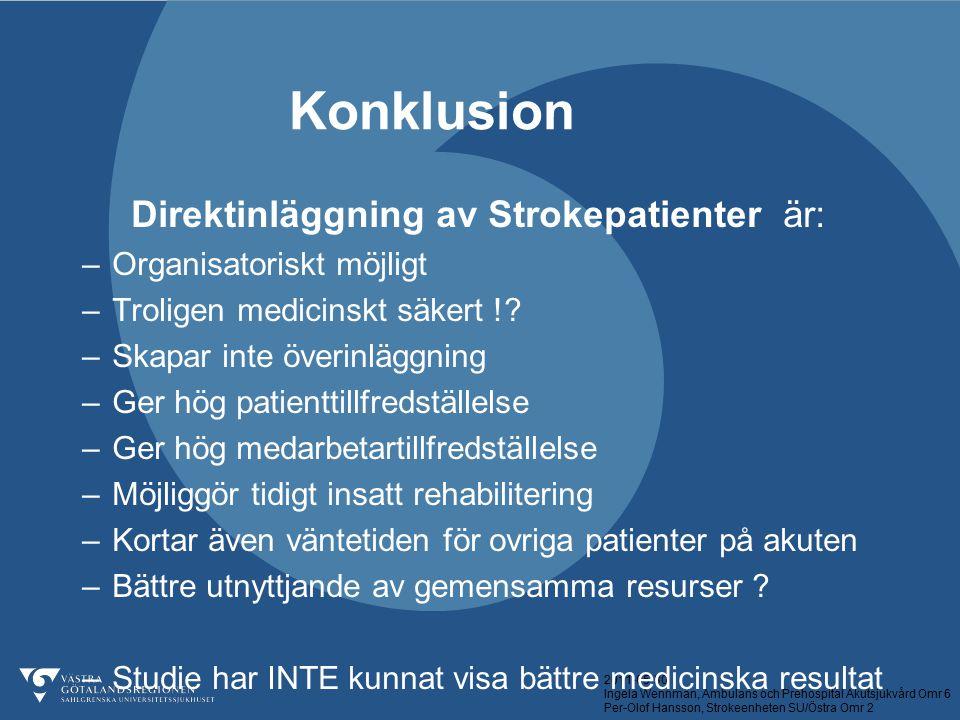 2011-05-30 Ingela Wennman, Ambulans och Prehospital Akutsjukvård Omr 6 Per-Olof Hansson, Strokeenheten SU/Östra Omr 2 Konklusion Direktinläggning av S