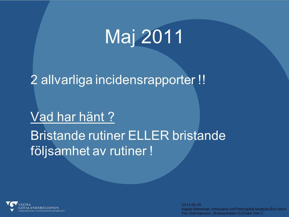 2011-05-30 Ingela Wennman, Ambulans och Prehospital Akutsjukvård Omr 6 Per-Olof Hansson, Strokeenheten SU/Östra Omr 2 Maj 2011 2 allvarliga incidensra