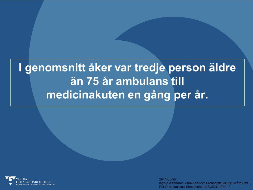 2011-05-30 Ingela Wennman, Ambulans och Prehospital Akutsjukvård Omr 6 Per-Olof Hansson, Strokeenheten SU/Östra Omr 2 Huvud-DIAGNOS Ambulens direkt n = 53 Kontrollgrupp n = 49 Stroke29 (55%)34 (69%) TIA6 (11%)3 (6%) Status Post Stroke3 (6%)7 (14%) Epilepsi3 (6%)1 (2%) Infektion5 (9%)0 Annat7 (13%)4 (8%)
