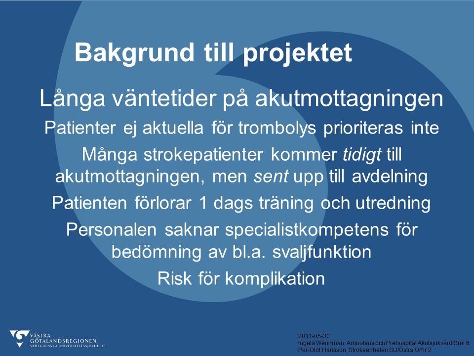 2011-05-30 Ingela Wennman, Ambulans och Prehospital Akutsjukvård Omr 6 Per-Olof Hansson, Strokeenheten SU/Östra Omr 2 Akutbehandling Beslut om inläggning/hemgång Sortera till rätt avdelning OM DIAGOSEN ÄR KLAR OCH INDIKATION FÖR INLÄGGNING FÖRELIGGER SÅ BEHÖVER PATIENTEN INTE PASSERA AKUTMOTTAGNINGEN.