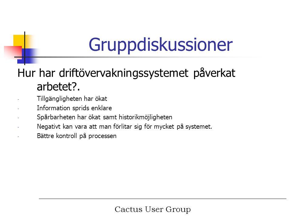 Cactus User Group Gruppdiskussioner Hur har driftövervakningssystemet påverkat arbetet?. - Tillgängligheten har ökat - Information sprids enklare - Sp