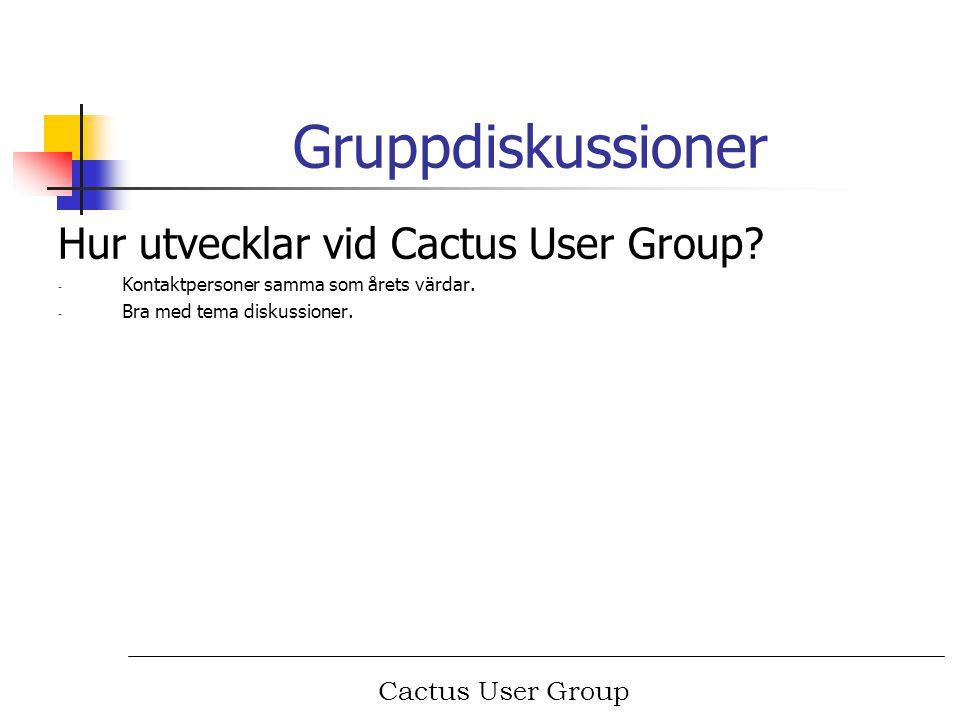 Cactus User Group Nästa år Nästa års träff, Bulltofta Malmö.