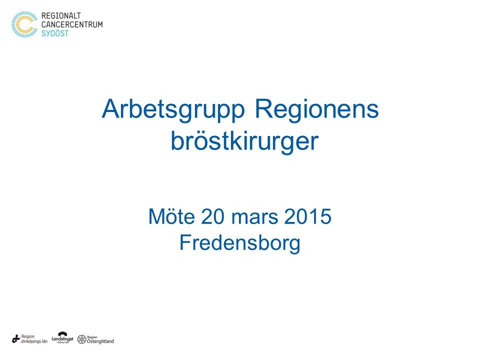 Arbetsgrupp Regionens bröstkirurger Möte 20 mars 2015 Fredensborg