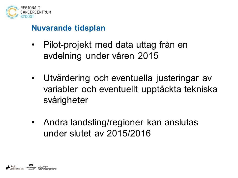 Nuvarande tidsplan Pilot-projekt med data uttag från en avdelning under våren 2015 Utvärdering och eventuella justeringar av variabler och eventuellt upptäckta tekniska svårigheter Andra landsting/regioner kan anslutas under slutet av 2015/2016