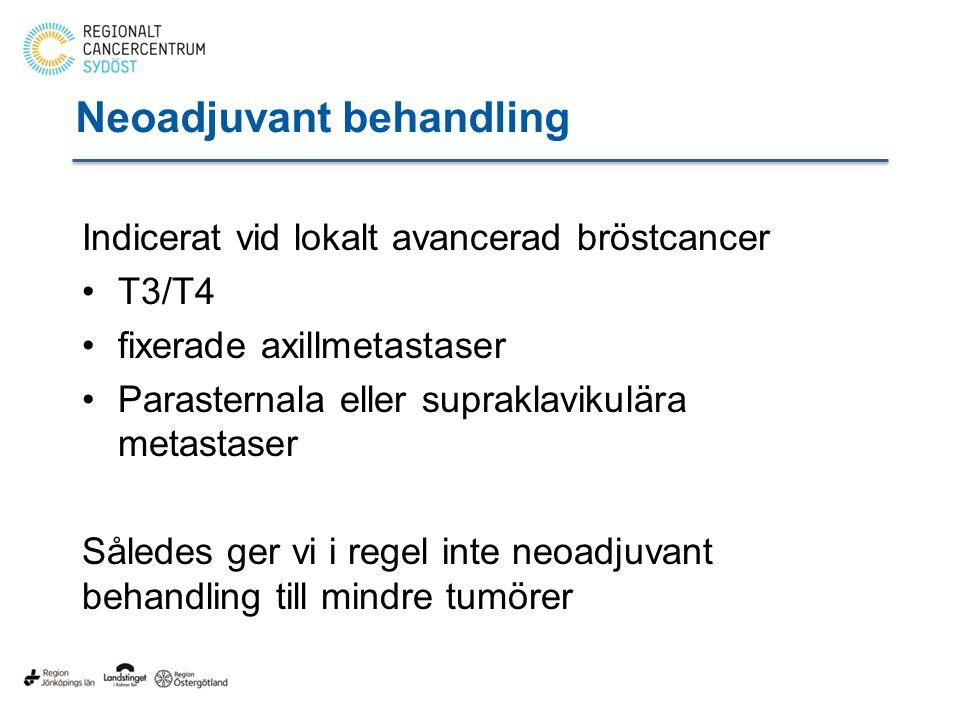 Neoadjuvant behandling Indicerat vid lokalt avancerad bröstcancer T3/T4 fixerade axillmetastaser Parasternala eller supraklavikulära metastaser Således ger vi i regel inte neoadjuvant behandling till mindre tumörer
