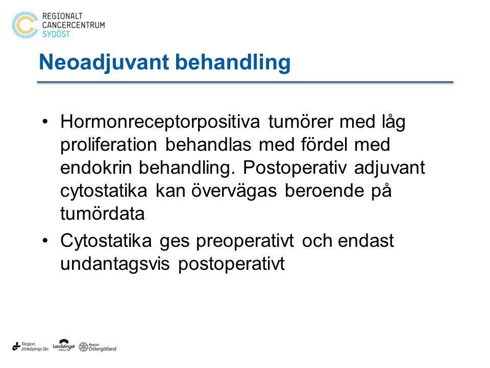 Neoadjuvant behandling Hormonreceptorpositiva tumörer med låg proliferation behandlas med fördel med endokrin behandling.