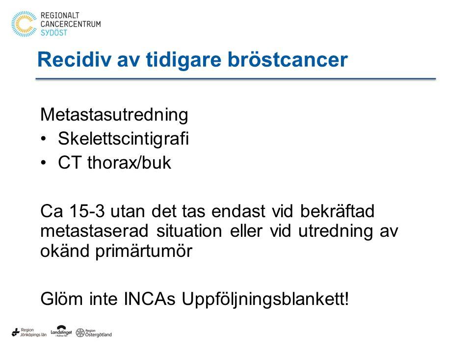 Recidiv av tidigare bröstcancer Metastasutredning Skelettscintigrafi CT thorax/buk Ca 15-3 utan det tas endast vid bekräftad metastaserad situation eller vid utredning av okänd primärtumör Glöm inte INCAs Uppföljningsblankett!