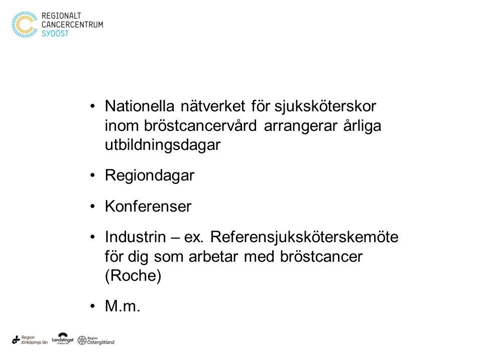 Nationella nätverket för sjuksköterskor inom bröstcancervård arrangerar årliga utbildningsdagar Regiondagar Konferenser Industrin – ex.