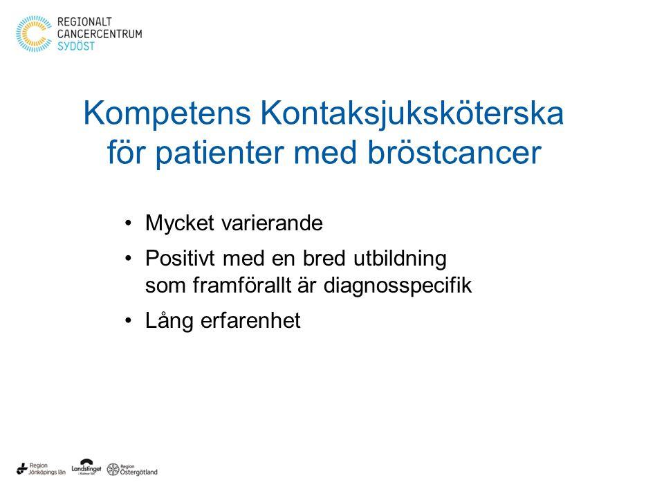 Kompetens Kontaksjuksköterska för patienter med bröstcancer Mycket varierande Positivt med en bred utbildning som framförallt är diagnosspecifik Lång erfarenhet