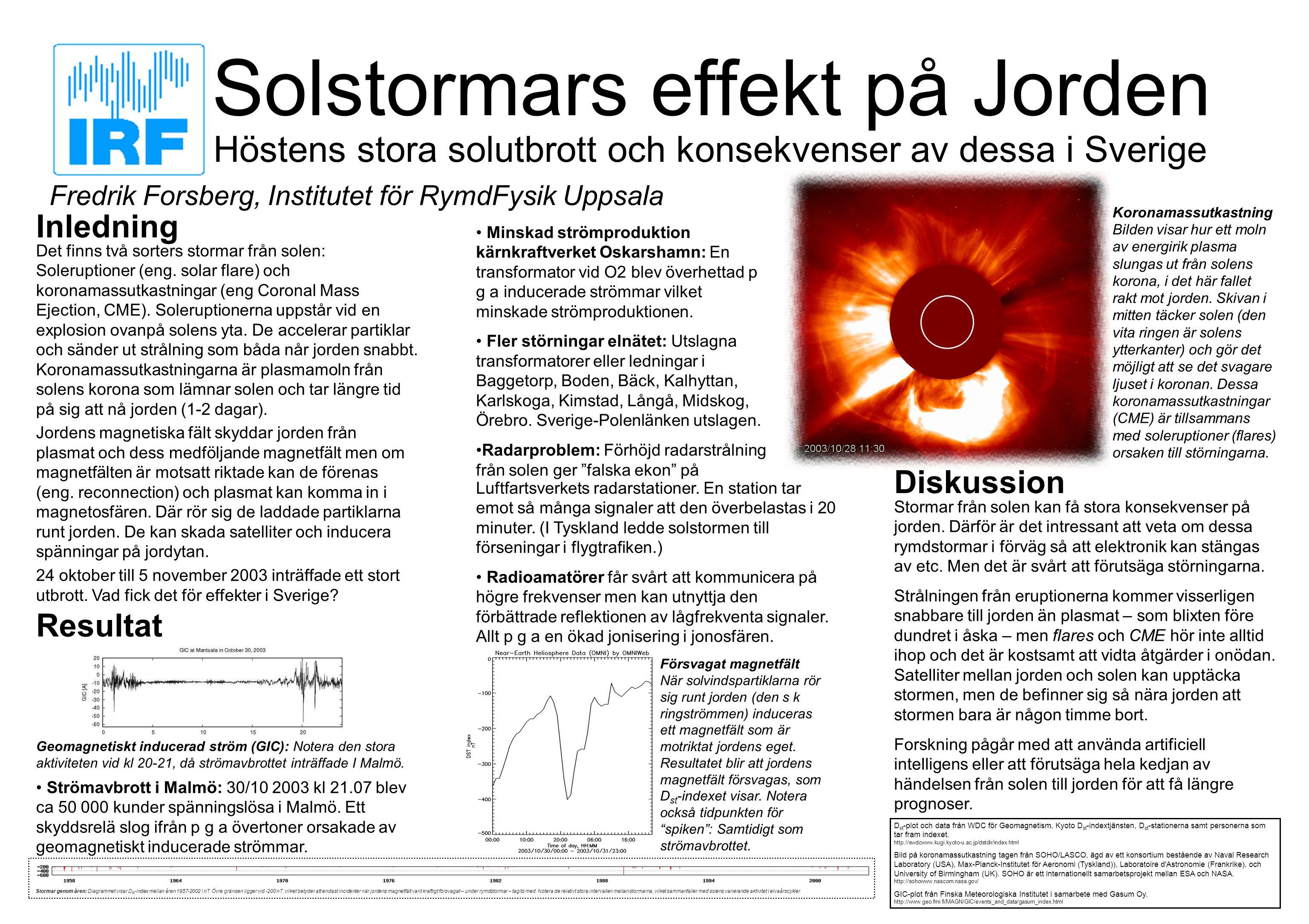 Solstormars effekt på Jorden Höstens stora solutbrott och konsekvenser av dessa i Sverige Inledning Det finns två sorters stormar från solen: Soleruptioner (eng.