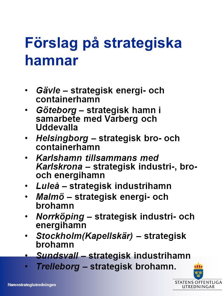 Hamnstrategiutredningen Förslag på strategiska hamnar Gävle – strategisk energi- och containerhamn Göteborg – strategisk hamn i samarbete med Varberg
