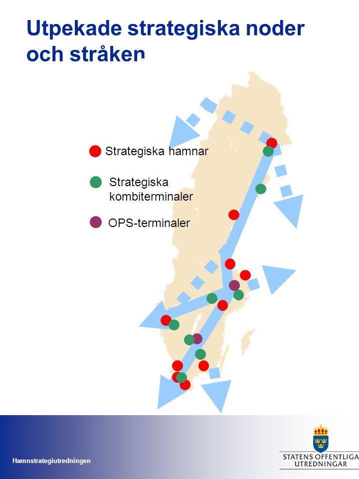 Hamnstrategiutredningen Utpekade strategiska noder och stråken Strategiska hamnar OPS-terminaler Strategiska kombiterminaler