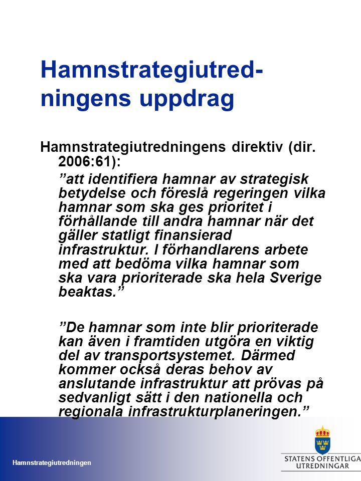 """Hamnstrategiutredningen Hamnstrategiutred- ningens uppdrag Hamnstrategiutredningens direktiv (dir. 2006:61): """"att identifiera hamnar av strategisk bet"""