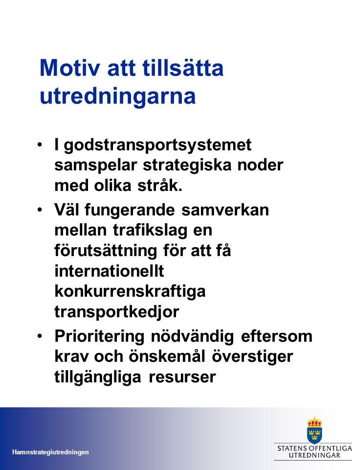 Hamnstrategiutredningen Inspel från näringslivsorganisation er Näringslivets transportrådSkogsindustrins transportkommittéTransport- industri- förbundet Inter- kontinental trafik Feeder- hamnar containers mm RoRo- hamnar Nationellt intressanta Nationellt och för skogs- industrin intressanta För skogs- industrin intressanta GöteborgGävleGöteborgHelsingborgGöteborgPiteåGöteborg NorrköpingHelsingborgMalmöSundsvallMönsteråsTrelleborg OxelösundMalmöLuleåTrelleborgVänerhamnarHelsingborg SödertäljeTrelleborgGävleVarbergMalmö YstadKarlshamnHallstavikKarlshamn HelsingborgKarlshamnUmeåHusumStockholm SundsvallStockholms Hamnar NorrköpingIggesundGävle UmeåNorrköping Luleå