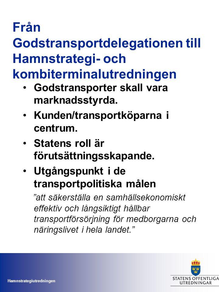 Hamnstrategiutredningen Förslag på strategiska hamnar Gävle – strategisk energi- och containerhamn Göteborg – strategisk hamn i samarbete med Varberg och Uddevalla Helsingborg – strategisk bro- och containerhamn Karlshamn tillsammans med Karlskrona – strategisk industri-, bro- och energihamn Luleå – strategisk industrihamn Malmö – strategisk energi- och brohamn Norrköping – strategisk industri- och energihamn Stockholm(Kapellskär) – strategisk brohamn Sundsvall – strategisk industrihamn Trelleborg – strategisk brohamn.