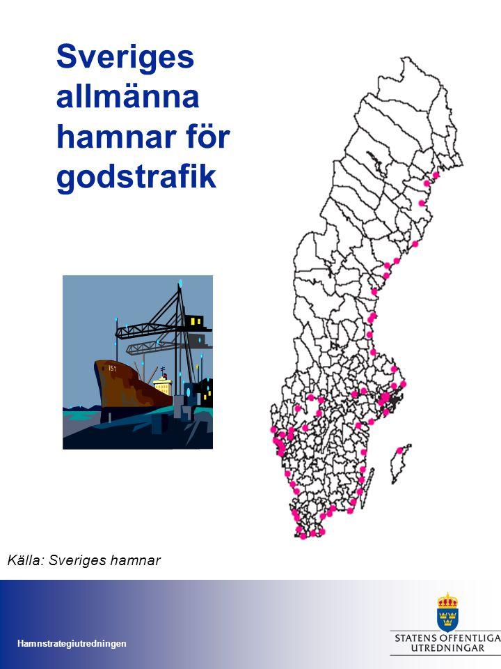 Hamnstrategiutredningen Sveriges allmänna hamnar för godstrafik Källa: Sveriges hamnar