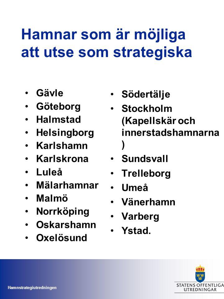 Hamnstrategiutredningen Hamnar som är möjliga att utse som strategiska Gävle Göteborg Halmstad Helsingborg Karlshamn Karlskrona Luleå Mälarhamnar Malm