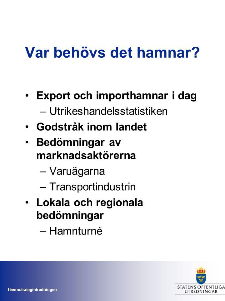 Hamnstrategiutredningen Var behövs det hamnar? Export och importhamnar i dag –Utrikeshandelsstatistiken Godstråk inom landet Bedömningar av marknadsak