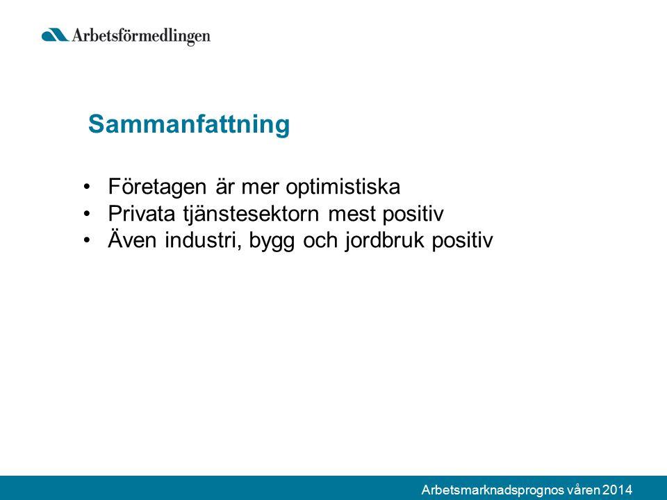 Arbetsmarknadsprognos våren 2014 Sammanfattning Företagen är mer optimistiska Privata tjänstesektorn mest positiv Även industri, bygg och jordbruk positiv