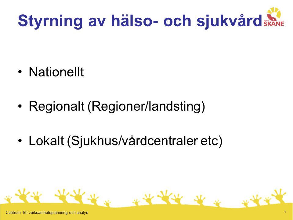 3 Centrum för verksamhetsplanering och analys Styrning av hälso- och sjukvård Nationellt Regionalt (Regioner/landsting) Lokalt (Sjukhus/vårdcentraler etc)