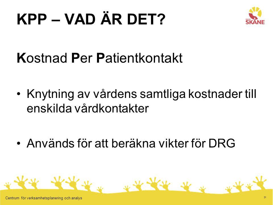 31 Centrum för verksamhetsplanering och analys KPP – VAD ÄR DET.