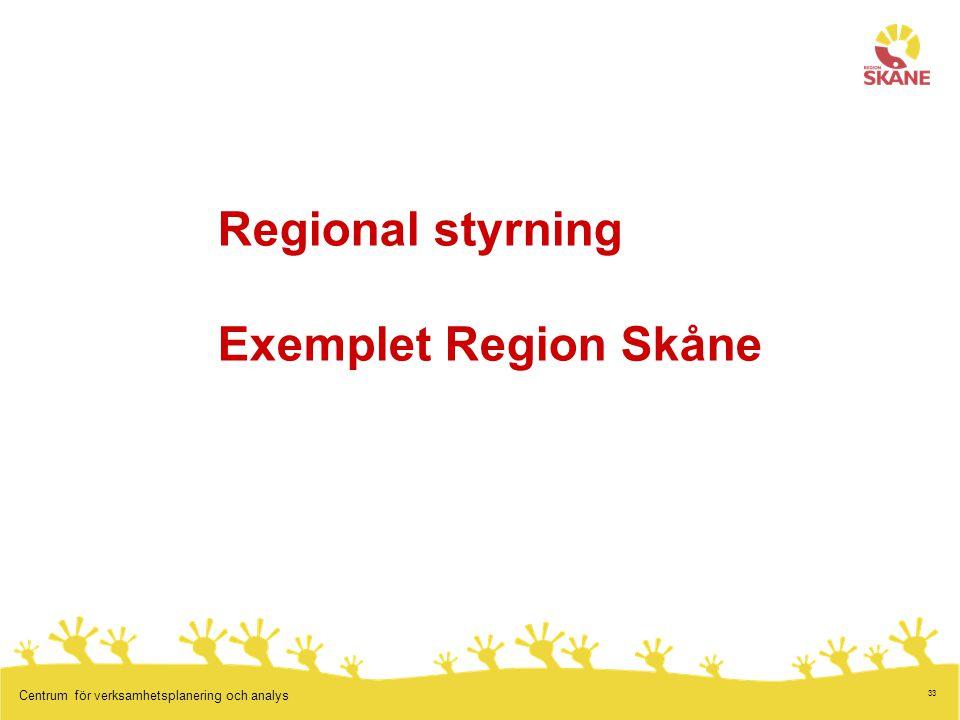 33 Centrum för verksamhetsplanering och analys Regional styrning Exemplet Region Skåne