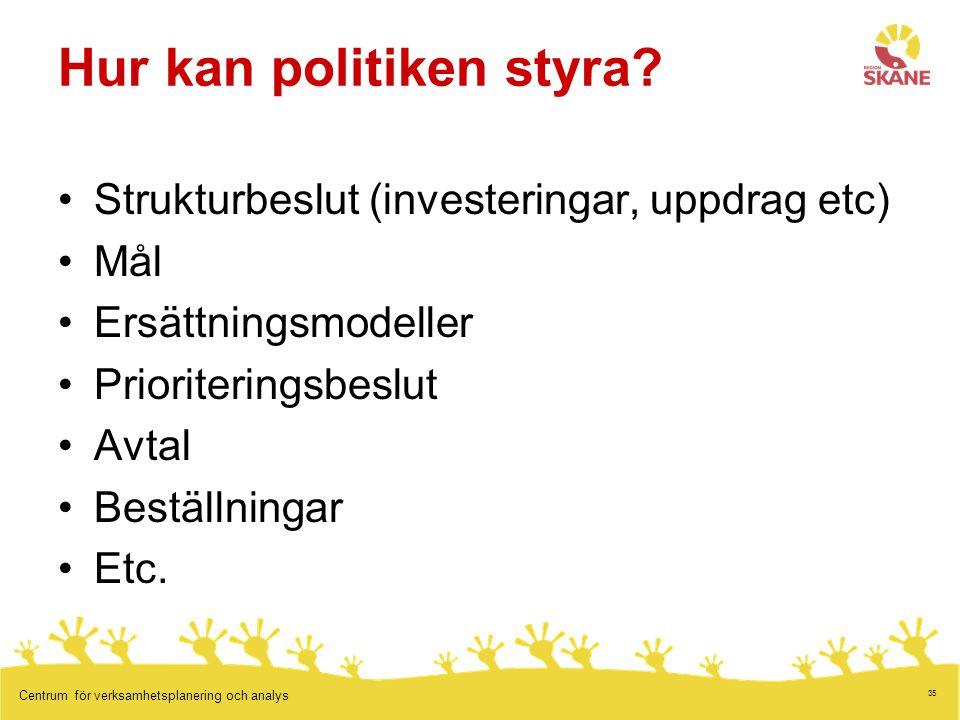 35 Centrum för verksamhetsplanering och analys Hur kan politiken styra.