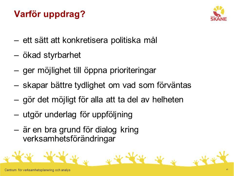 41 Centrum för verksamhetsplanering och analys Varför uppdrag.