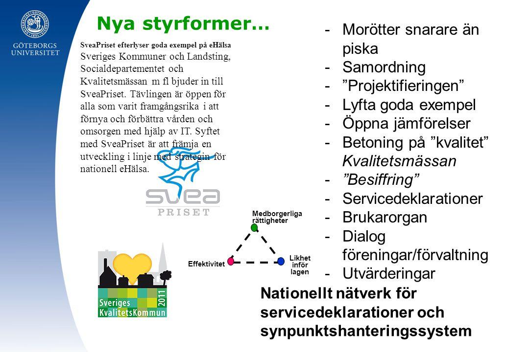 Nya styrformer… SveaPriset efterlyser goda exempel på eHälsa Sveriges Kommuner och Landsting, Socialdepartementet och Kvalitetsmässan m fl bjuder in t
