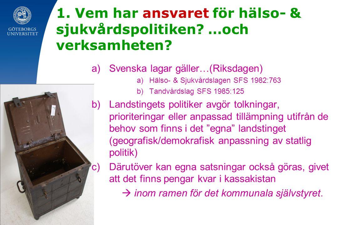 1. Vem har ansvaret för hälso- & sjukvårdspolitiken? …och verksamheten? a)Svenska lagar gäller…(Riksdagen) a)Hälso- & Sjukvårdslagen SFS 1982:763 b)Ta