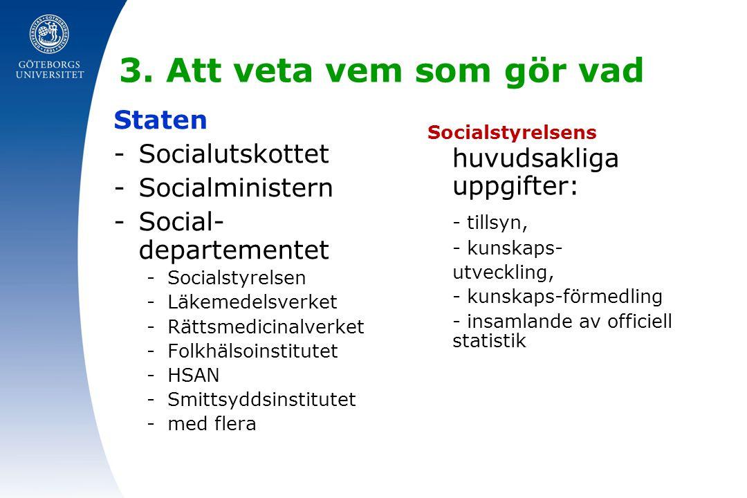 3. Att veta vem som gör vad Staten -Socialutskottet -Socialministern -Social- departementet -Socialstyrelsen -Läkemedelsverket -Rättsmedicinalverket -