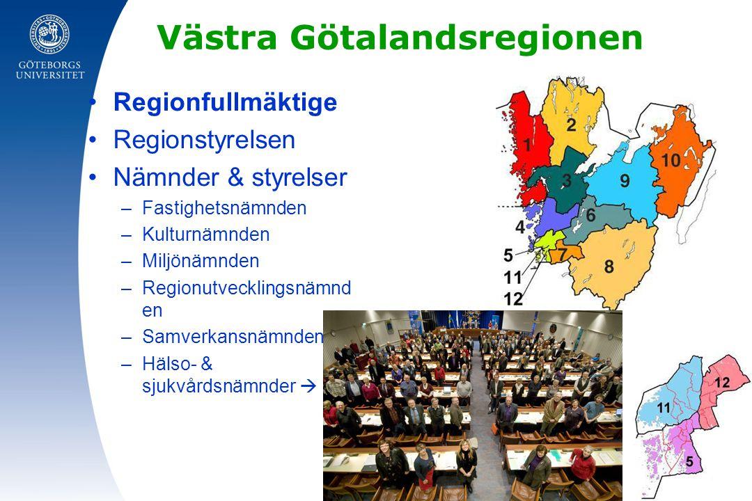 Västra Götalandsregionen Regionfullmäktige Regionstyrelsen Nämnder & styrelser –Fastighetsnämnden –Kulturnämnden –Miljönämnden –Regionutvecklingsnämnd en –Samverkansnämnden –Hälso- & sjukvårdsnämnder 