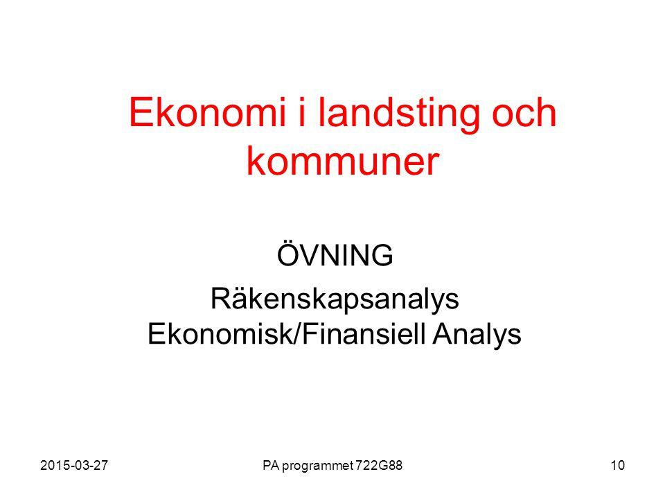 2015-03-27PA programmet 722G8810 Ekonomi i landsting och kommuner ÖVNING Räkenskapsanalys Ekonomisk/Finansiell Analys