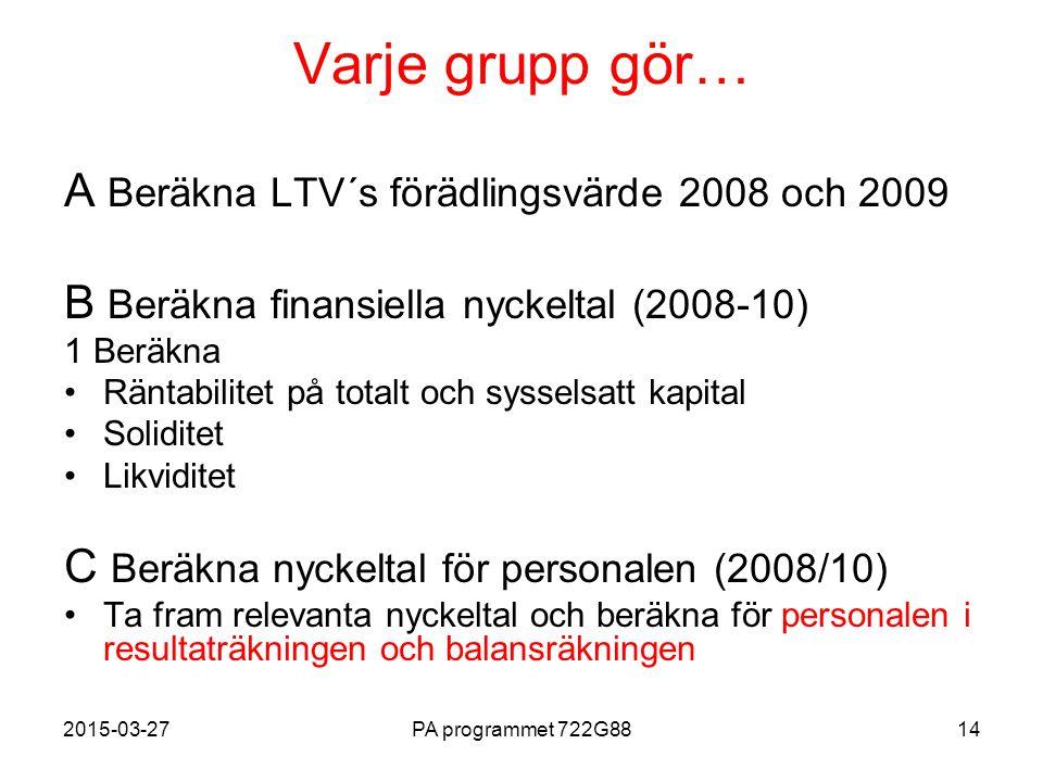 2015-03-27PA programmet 722G8814 Varje grupp gör… A Beräkna LTV´s förädlingsvärde 2008 och 2009 B Beräkna finansiella nyckeltal (2008-10) 1 Beräkna Rä