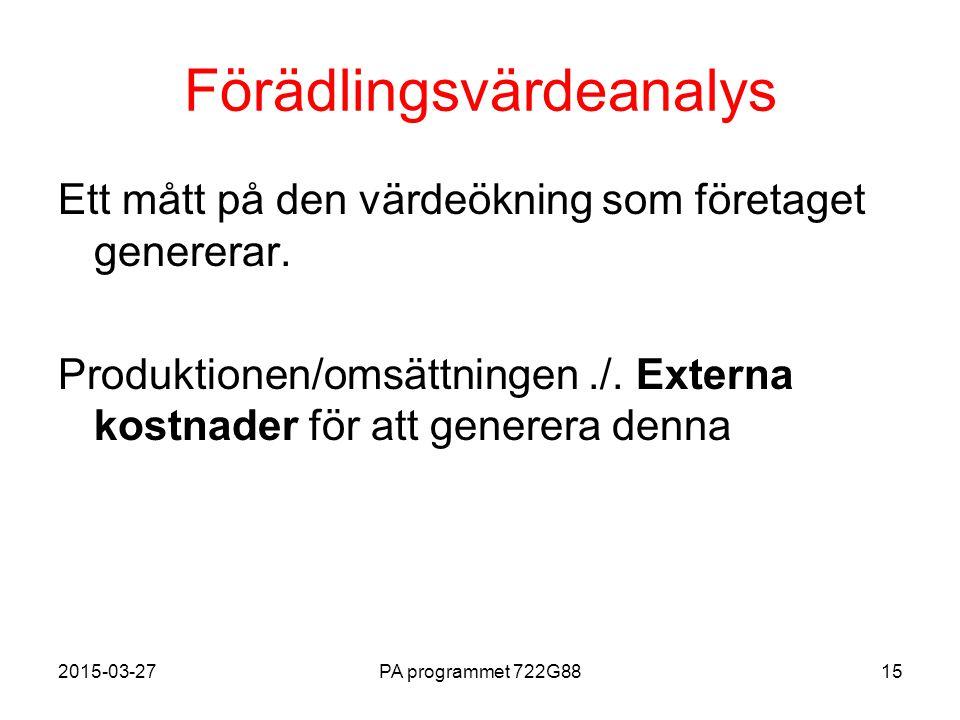 2015-03-27PA programmet 722G8815 Förädlingsvärdeanalys Ett mått på den värdeökning som företaget genererar. Produktionen/omsättningen./. Externa kostn