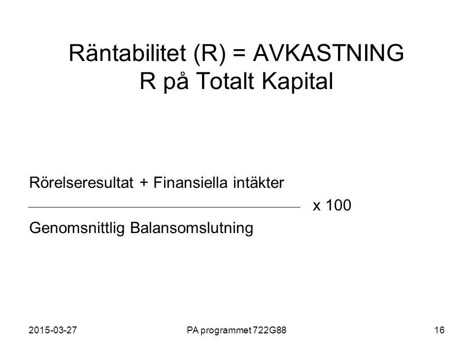 2015-03-27PA programmet 722G8816 Räntabilitet (R) = AVKASTNING R på Totalt Kapital Rörelseresultat + Finansiella intäkter x 100 Genomsnittlig Balansom