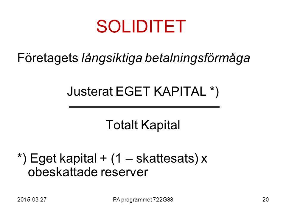 2015-03-27PA programmet 722G8820 SOLIDITET Företagets långsiktiga betalningsförmåga Justerat EGET KAPITAL *) Totalt Kapital *) Eget kapital + (1 – ska